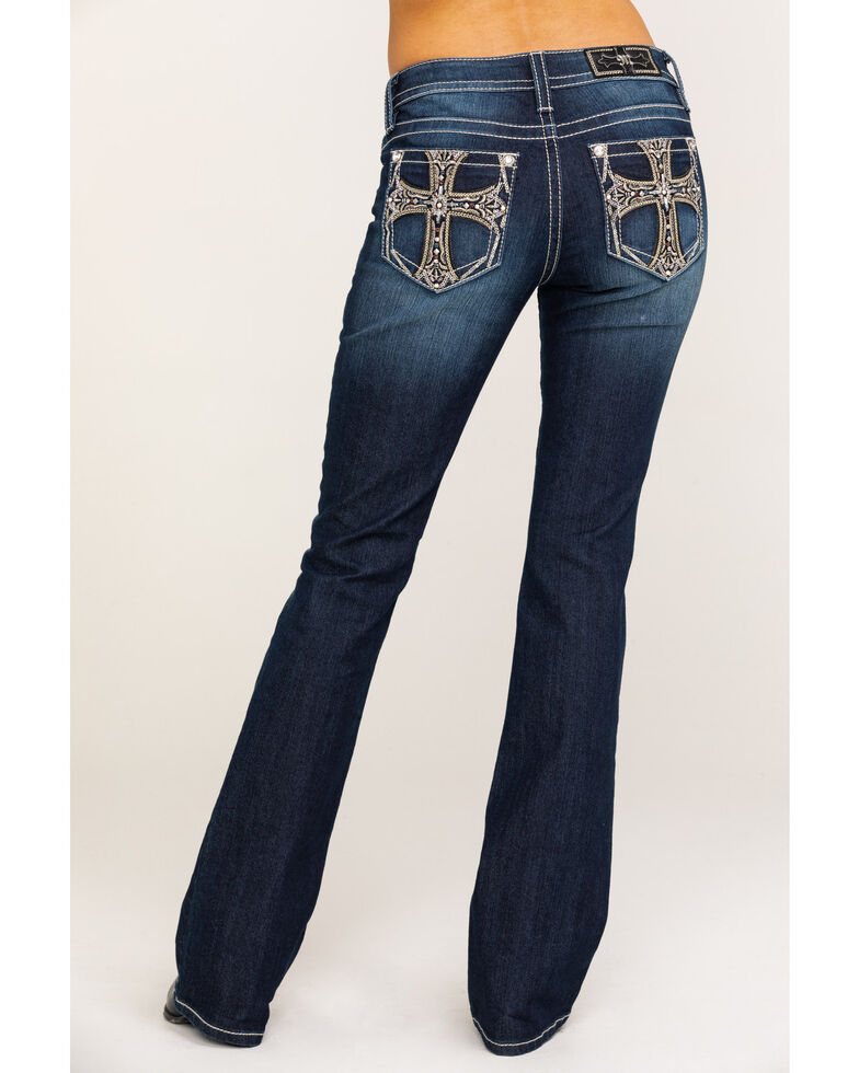 "Miss Me Women's Dark Wash Chained Cross 36"" Bootcut Jeans , , hi-res"