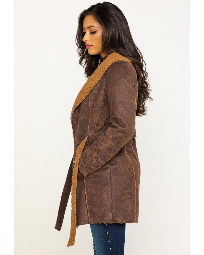 Shyanne Women's Faux Suede Sherpa Long Jacket, Brown, hi-res