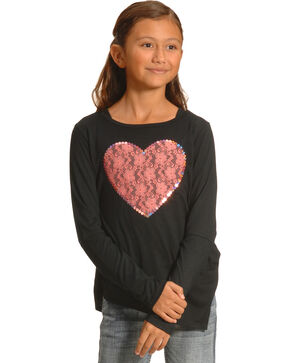 Derek Heart Girls' Black Sequin Heart Long Sleeve Top , Black, hi-res