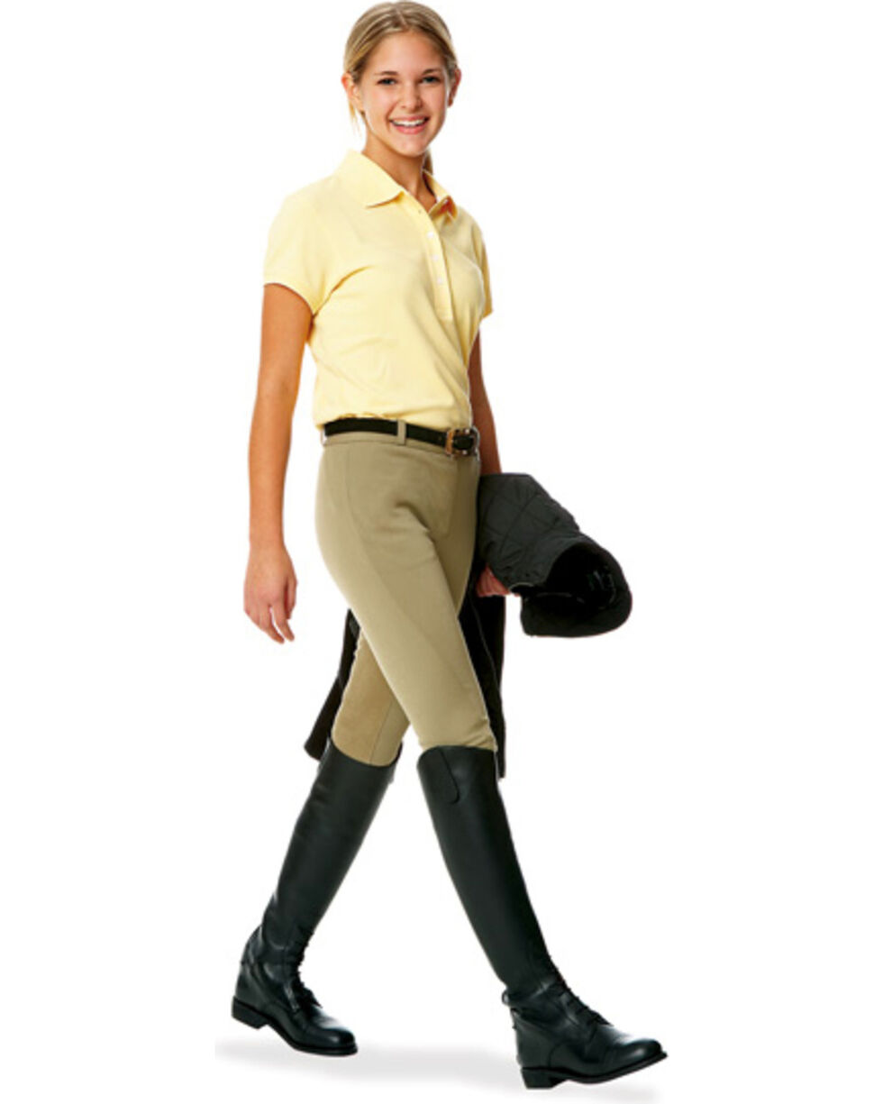 Ovation Girls' Euroweave Pull-on Breeches, Tan, hi-res