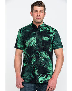 Levis Men's Kobelle Popli Palm Print Short Sleeve Western Shirt , Black, hi-res