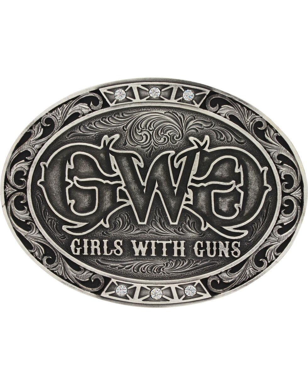 Girls With Guns Women's Triple Bling Attitude Belt Buckle, Silver, hi-res