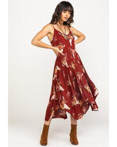 Angie Women's Steerhead & Roses Button Down Slip Dress, Rust Copper, hi-res