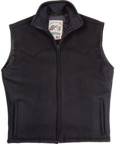 Schaefer Men's Black Arena Melton Wool Vest, Black, hi-res