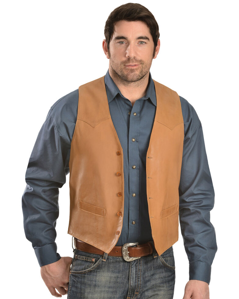 Scully Men's Basic Lambskin Vest, Tan, hi-res