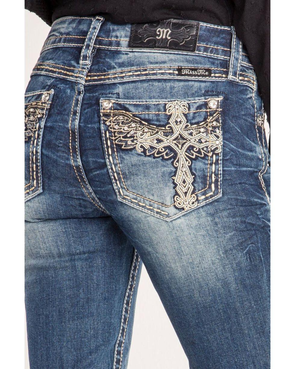 Miss Me Women's Winged Cross Skinny Jeans , Blue, hi-res