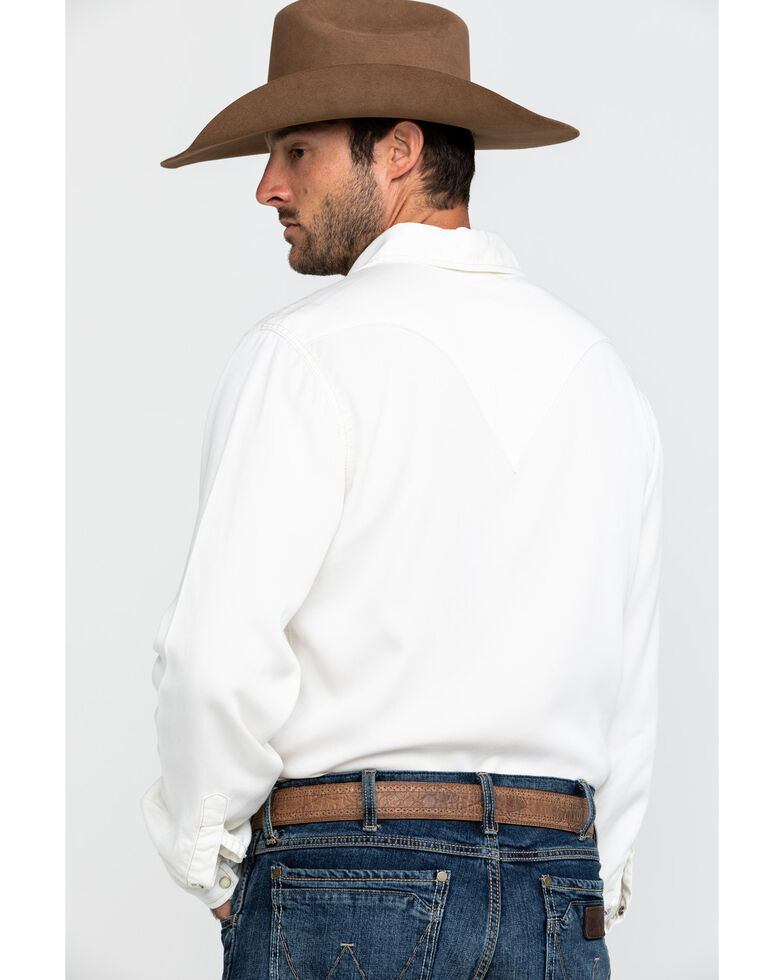 Stetson Men's Cream Tencel Twill Solid Long Sleeve Western Shirt , White, hi-res