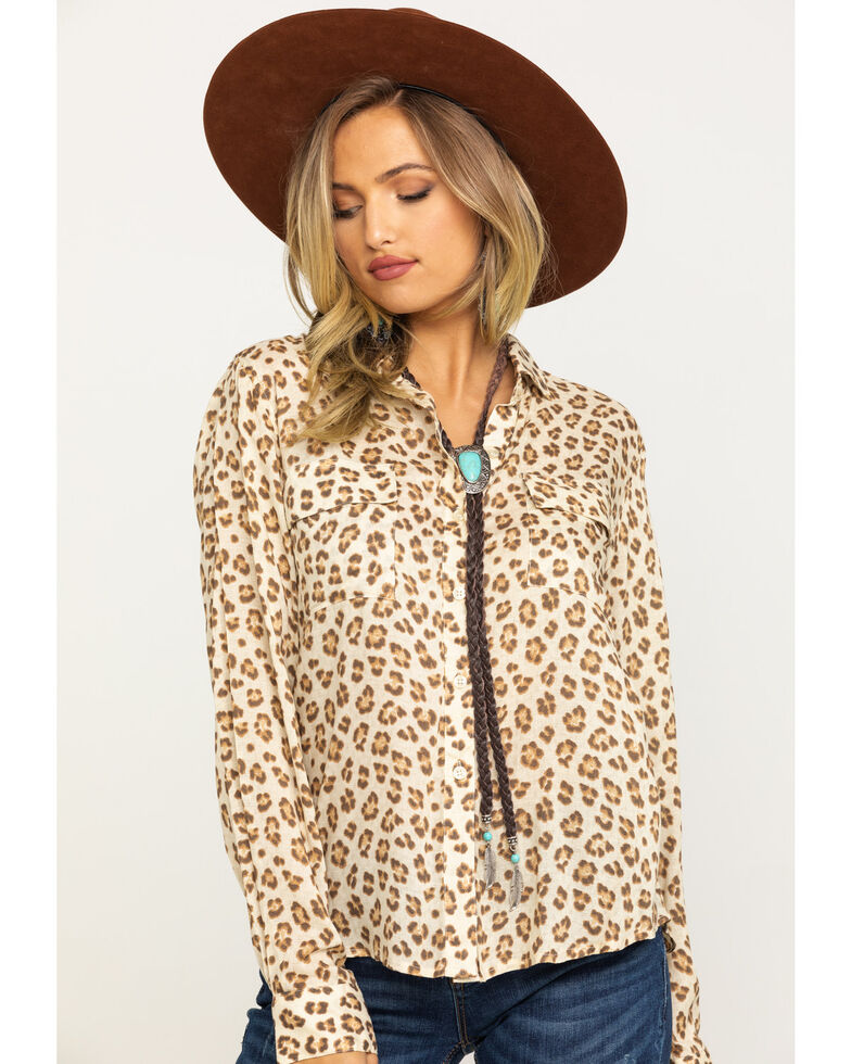 Stetson Women's Brown Leopard Print Button Down Top, Brown, hi-res