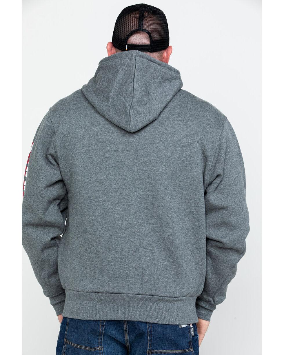 Wolverine Men's Black Logo Sleeve Zip-Up Work Hoodie , Ash, hi-res