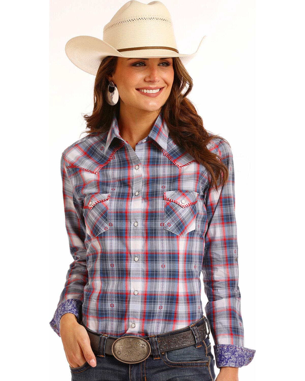 Plaid Sleeve Denim Shirt Women