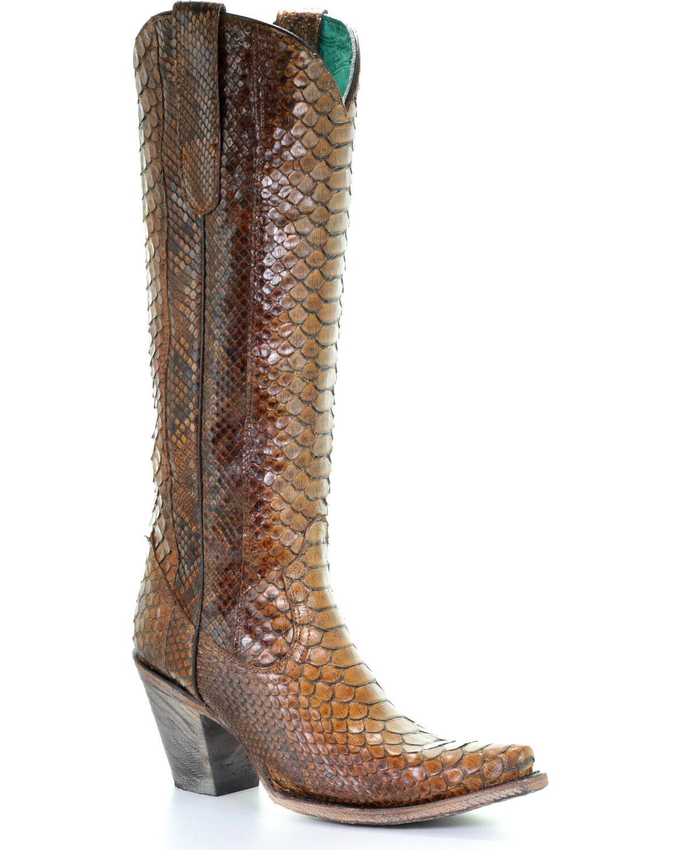 Corral Women's Tan Tall Full Python