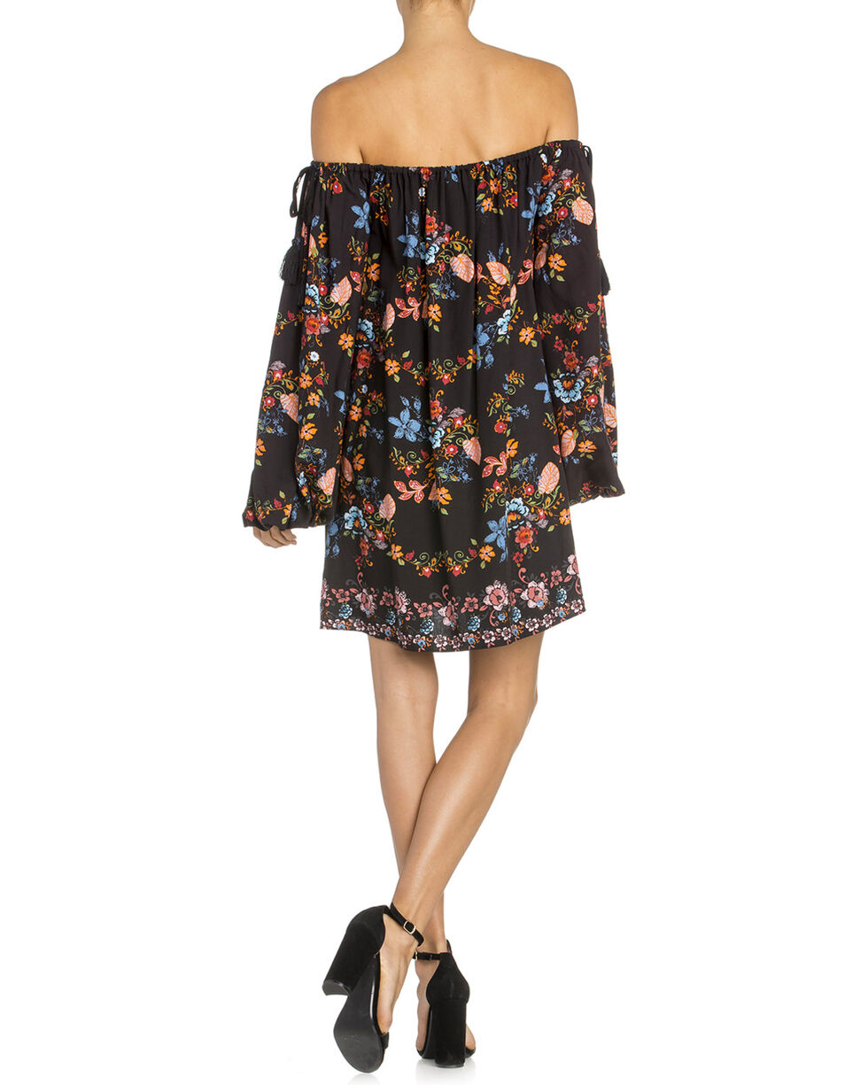 Miss Me Women's Black Off-The-Shoulder Flounce Dress , Black, hi-res