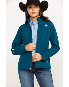 Ariat Women's Teal Heather Team Softshell Jacket, Blue, hi-res