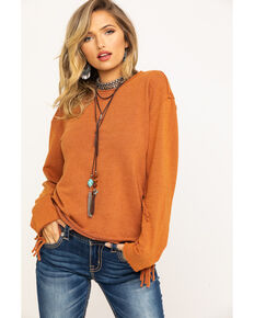 Wrangler Women's Rust Fringe Sleeve Top, Rust Copper, hi-res
