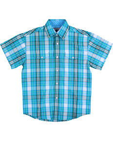 Panhandle Boys' Caribbean Plaid Short Sleeve Shirt, Turquoise, hi-res