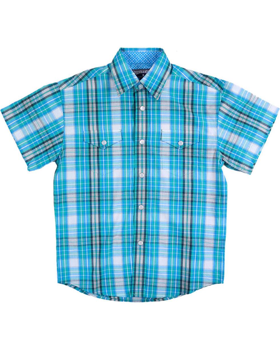 Panhandle Boys' Caribbean Plaid Short Sleeve Shirt, Turquoise, hi-res