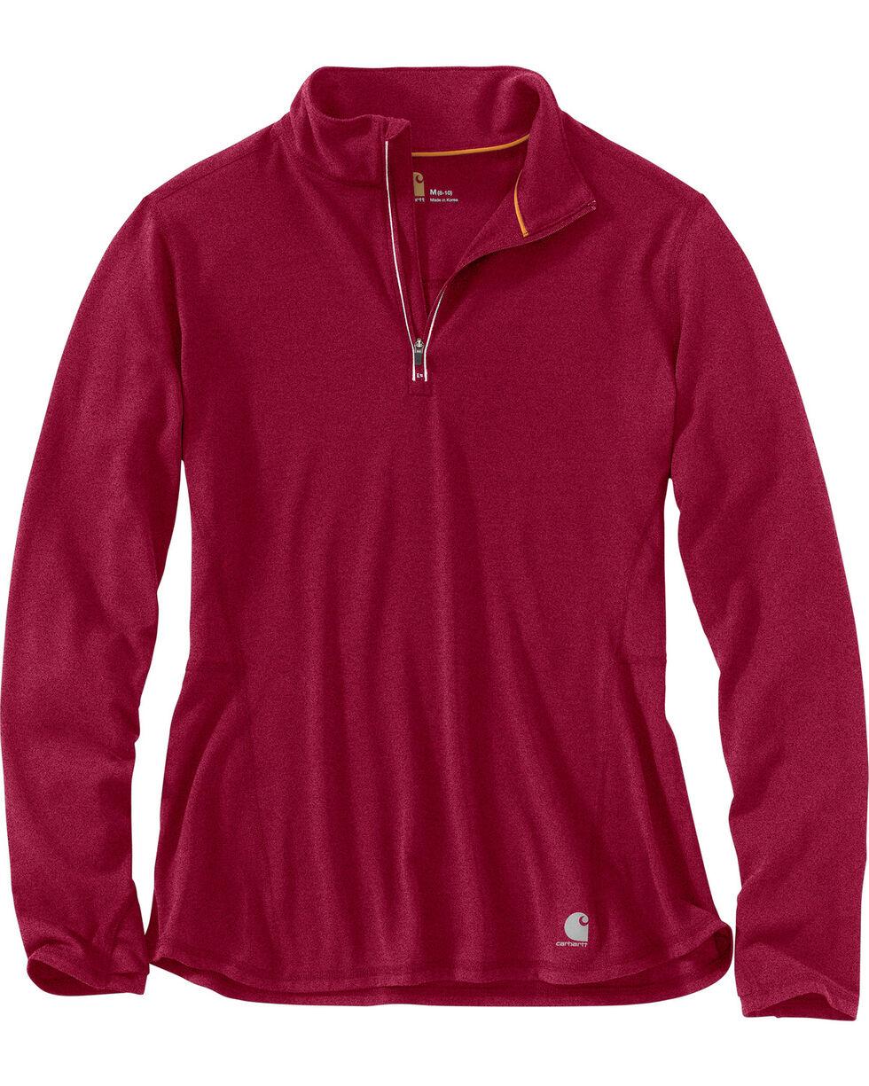 Carhartt Women's Force Ferndale Quarter Zip Shirt , Wine, hi-res