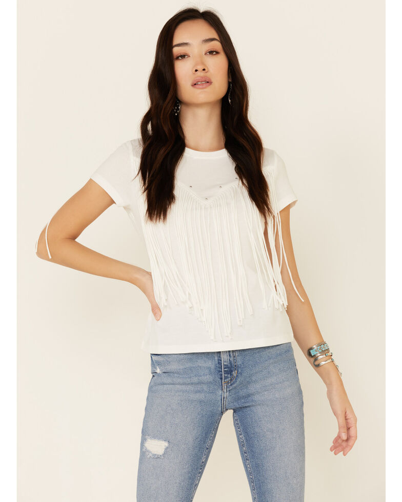 Idyllwind Women's Saddle Up Western Fringe Tee , White, hi-res