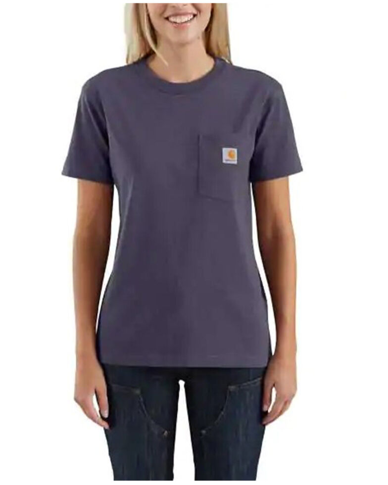 Carhartt Women's Solid Pocket Short Sleeve Work T-Shirt, Heather Purple, hi-res