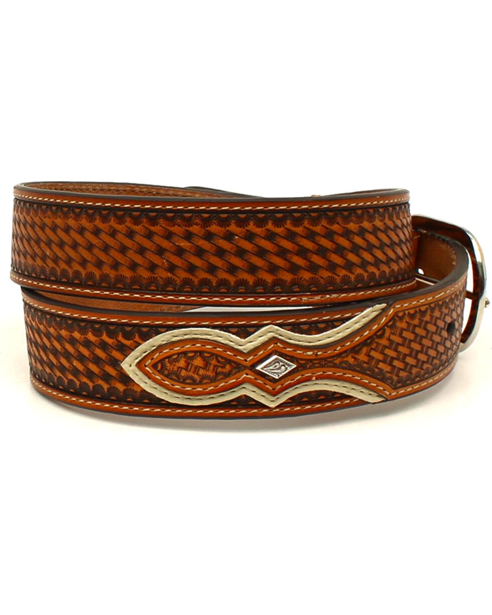 Nocona Men's Weave Embossed Overlay Western Belt , Tan, hi-res