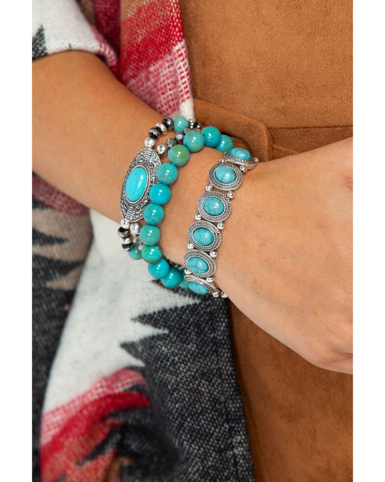 Shyanne Women S 3 Piece Beaded Bracelet Stack Silver Hi Res