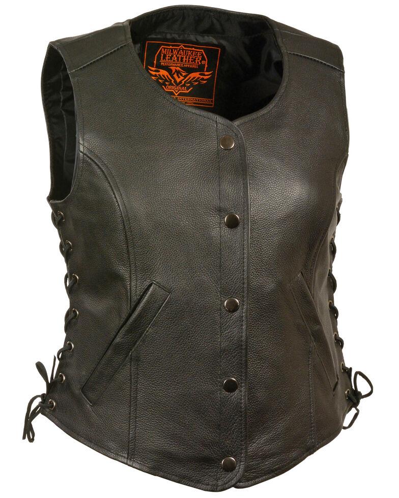 Milwaukee Leather Women's Side Lace Snap Front Vest - 3X, Black, hi-res