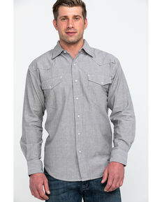 Resistol Men's Olympic Solid Long Sleeve Western Shirt , Grey, hi-res