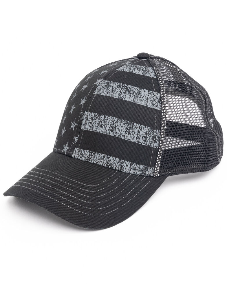 Cody James Men's Black On Black Flag Mesh Ball Cap , Black, hi-res