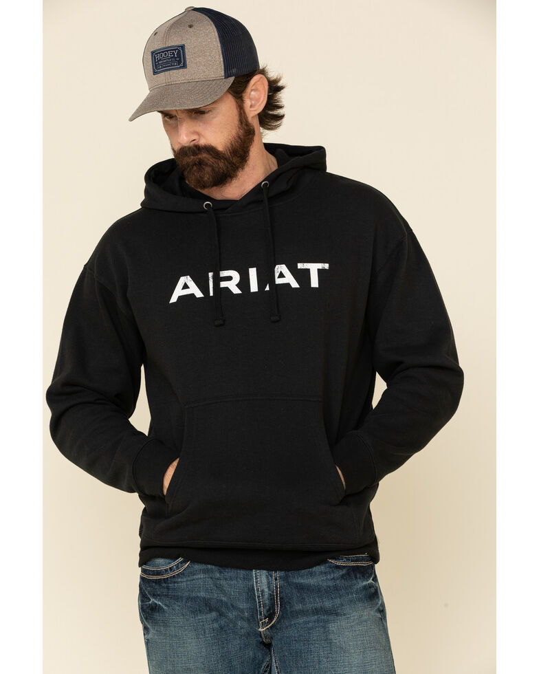 Ariat Men's Angle USA Graphic Fleece Hooded Sweatshirt , Black, hi-res