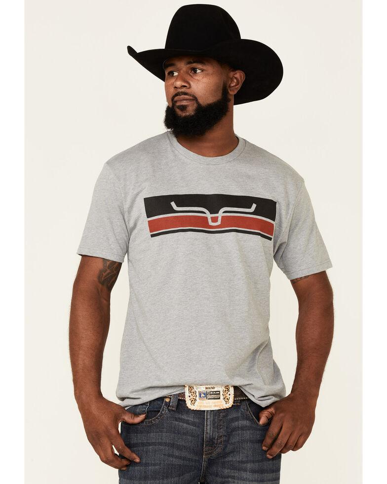 Kimes Ranch Men's Grey Broken Stripe Logo Short Sleeve T-Shirt , Grey, hi-res