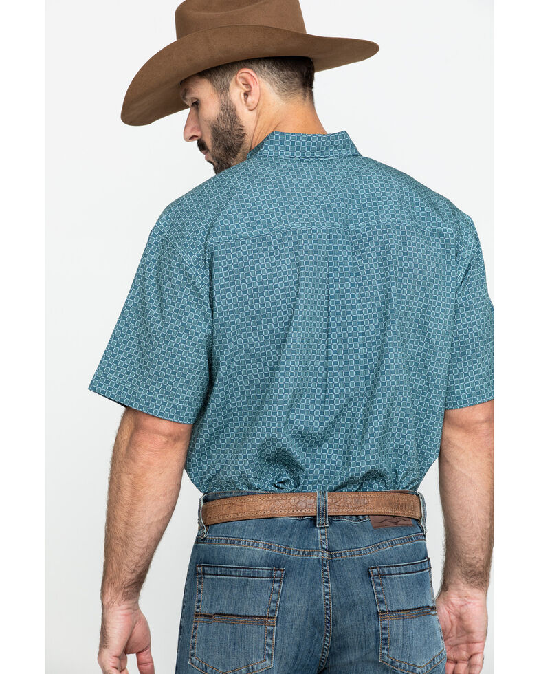 Cinch Men's Arena Flex Light Blue Geo Print Short Sleeve Western Shirt , Light Blue, hi-res