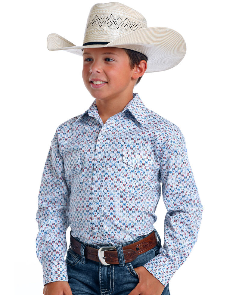 Rough Stock By Panhandle Boys' Tamworth Retro Geo Print Long Sleeve Western Shirt , White, hi-res