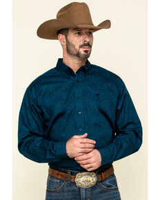 Cinch Men's Blue Paisley Print Button Long Sleeve Western Shirt , Blue, hi-res
