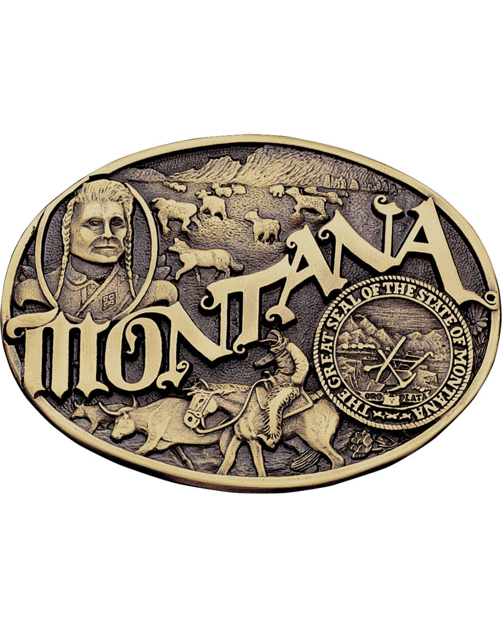 Montana Silversmiths Montana State Belt Buckle, Gold, hi-res