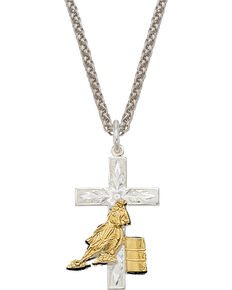 Montana Silversmiths Barrel Racer Cross Necklace, Multi, hi-res