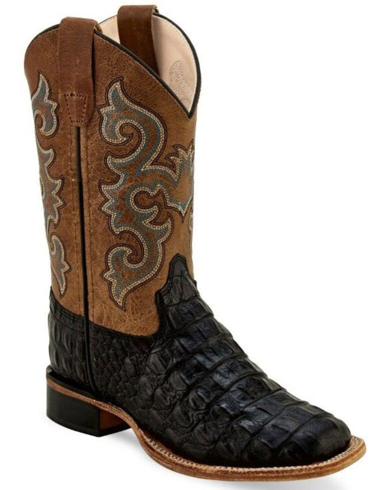 Old West Boys' Black Faux Horn Gator Print Western Boots - Wide Square Toe, Black, hi-res
