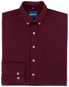 Resistol Men's Maury Geo Print Long Sleeve Western Shirt , Dark Red, hi-res