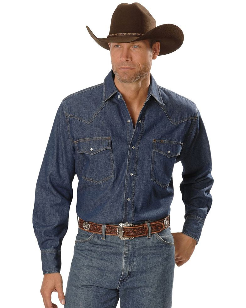 Ely Cattleman Men's Cotton Denim Long Sleeve Work Shirts, Denim, hi-res