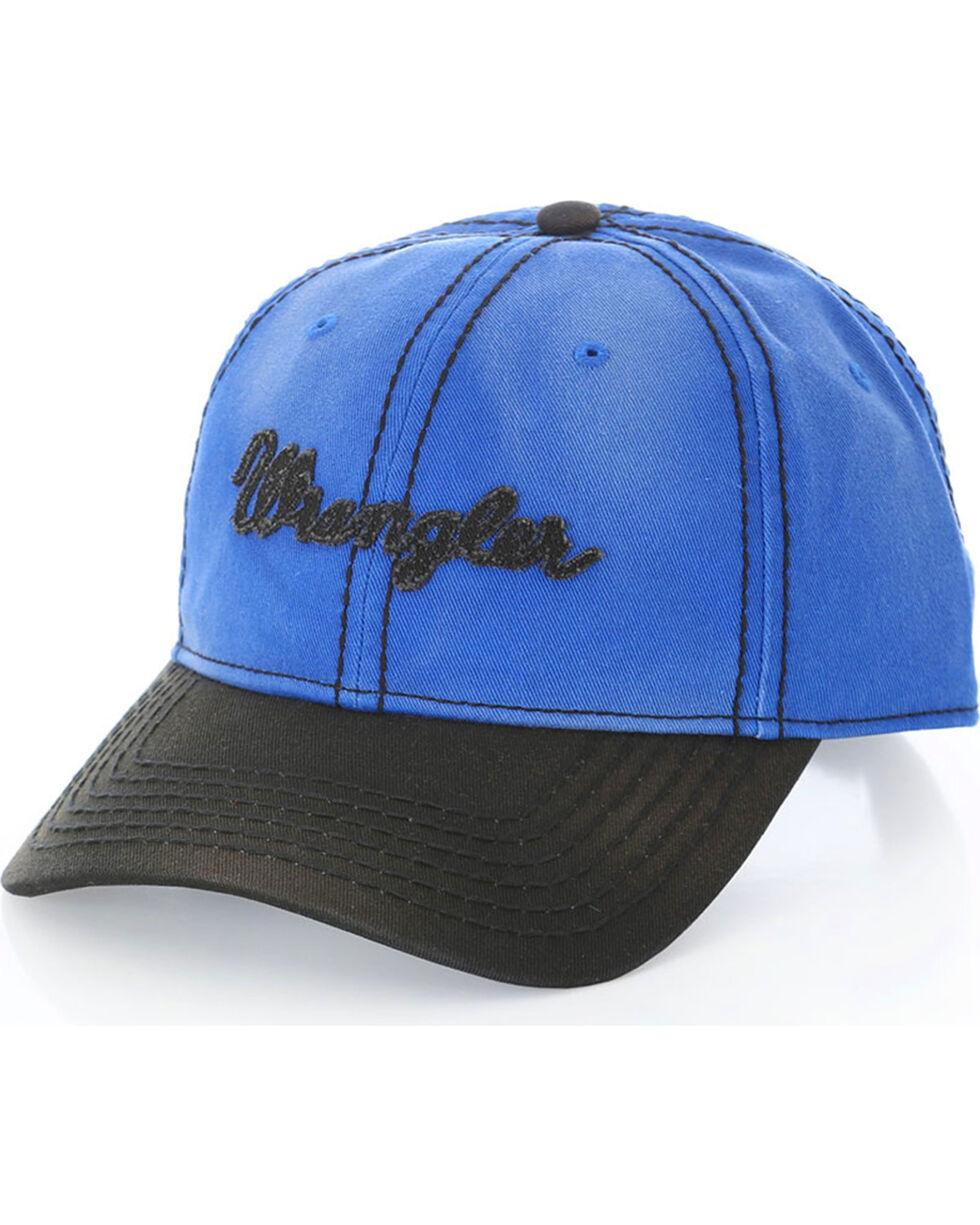 Wrangler Men's Cobalt Script Logo Ball Cap, Blue, hi-res