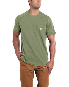 abacc31342638 Carhartt Men's Green Force Cotton Delmont Short Sleeve Work T-Shirt - Big