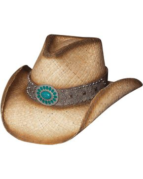 Bullhide Women's Western Shadows Straw Hat, Natural, hi-res