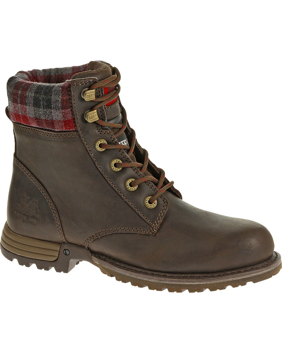 CAT Women's Kenzie Steel Toe Work Boots, Bark, hi-res
