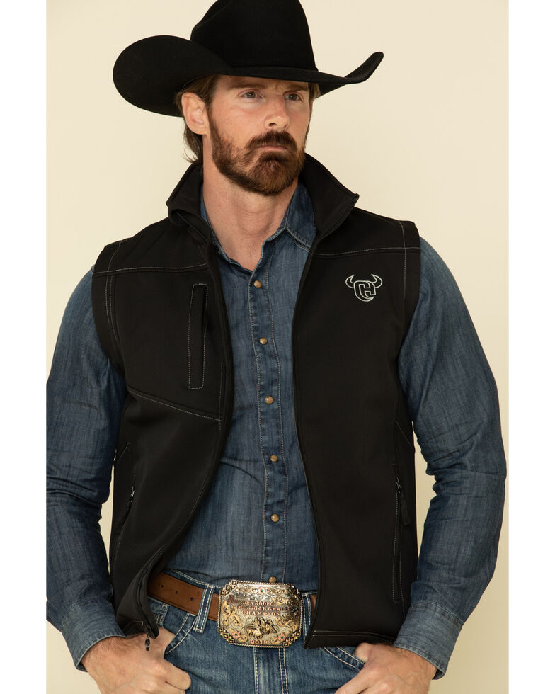 Cowboy Hardware Men's Black Logo Poly Shell Vest , Black, hi-res