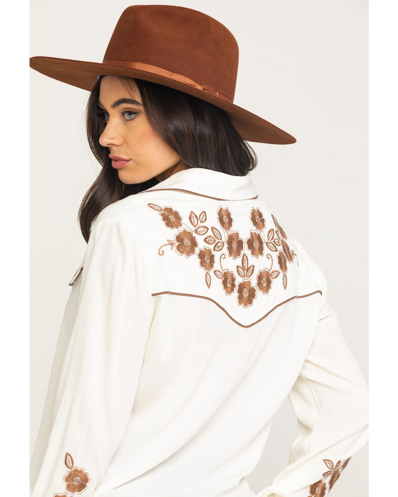 Stetson Women's White Embroidered Long Sleeve Western Shirt, White, hi-res
