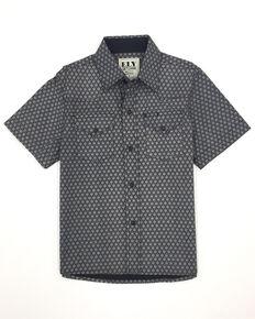 Ely Cattleman Boys' Assorted Black Geo Print Short Sleeve Western Shirt , Black, hi-res