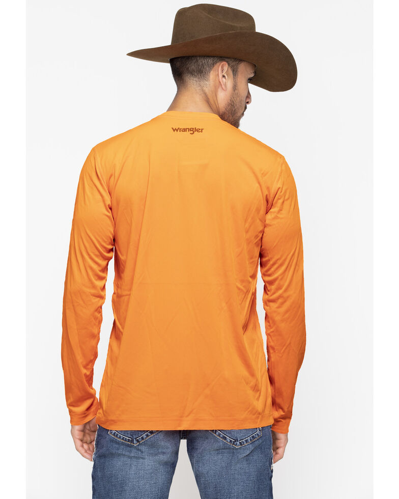 Wrangler Riggs Men's Green Crew Performance Long Sleeve Work T-Shirt - Big & Tall, Bright Orange, hi-res