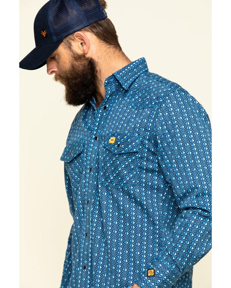 Wrangler 20X Men's FR Blue Geo Print Long Sleeve Work Shirt - Big , Blue, hi-res