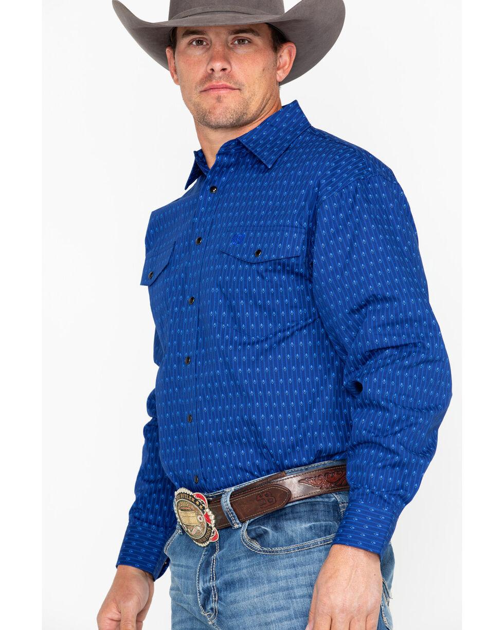 Panhandle Select Men's Blue Peached Poplin Geo Print Long Sleeve Western Shirt , Light Blue, hi-res