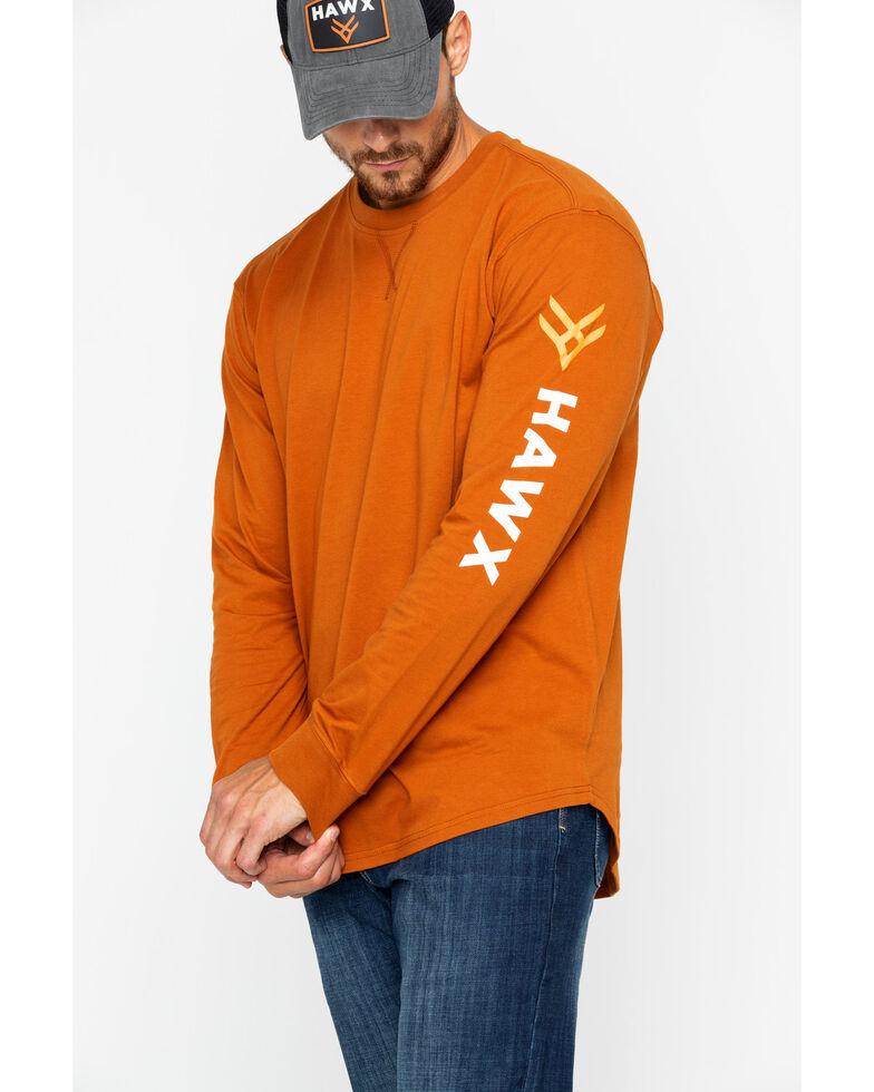 Hawx® Men's Logo Crew Long Sleeve Work T-Shirt , Dark Orange, hi-res