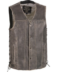 Milwaukee Leather Men's Grey Side Lace Vest - Big 3X , Grey, hi-res